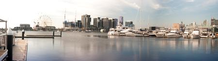 Shot of many yachts docked with Melbourne docklands skyline background