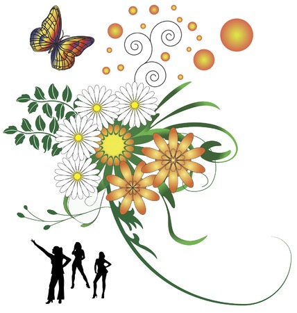 background illustration with butterfly, flowers and danzing girls Vector
