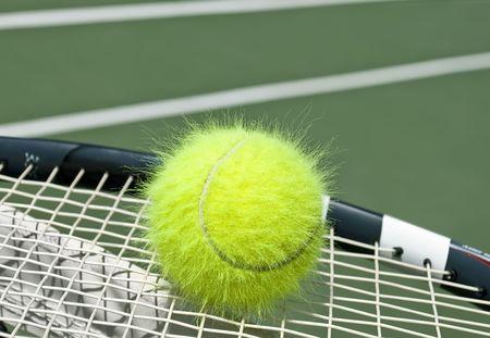 Electrified funny tennis ball on a racquet