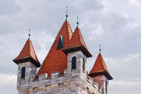 steeples: Exotic tiled fairy tower with green steeples