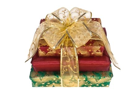 Three wrapped gift boxes with gold organza ribbon and bow