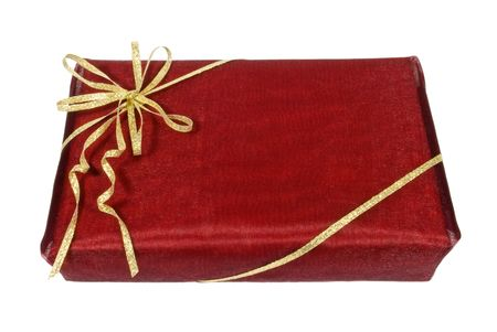Wrapped dark red gift box with golden ribbon
