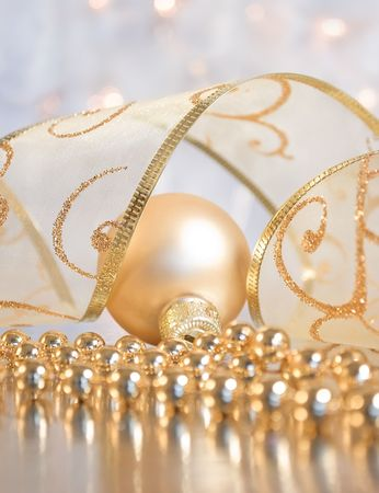 Christmas decoration - small bauble, sparkled ribbon and beaded garland photo