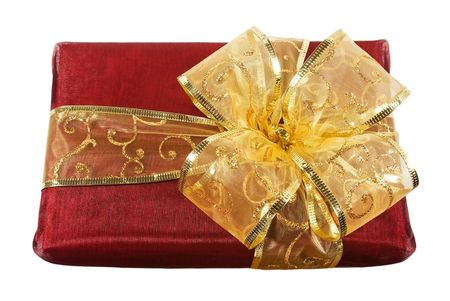 Red wrapped gift box with a big sparkled golden bow