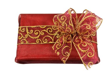 Red wrapped gift box with red and golden sparkled bow and ribbon