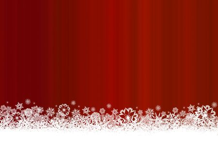 White scattered snowflakes on dark red and white background Banque d'images