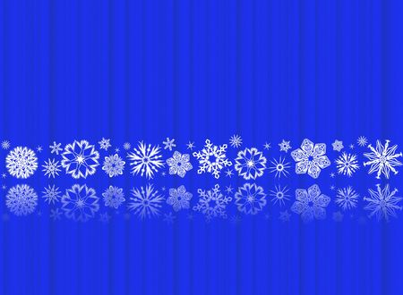 White snowflakes on blue with reflections - christmas ornament Banque d'images