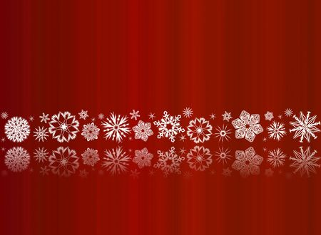White snowflakes on red with reflections - christmas ornament
