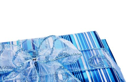 sparkled: Blue striped gift boxes decorated with a blue bow