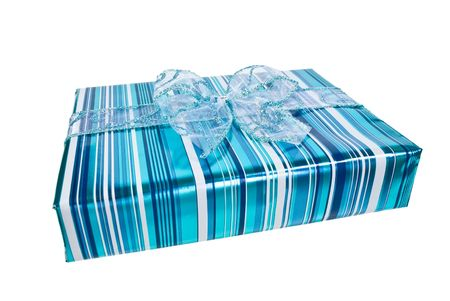 Blue wrapped gift box decorated with a blue organza bow