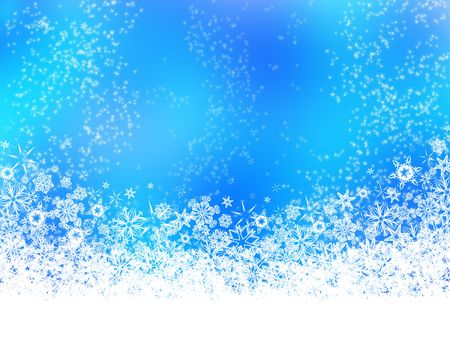 White scattered snowflakes on blue and white background Фото со стока