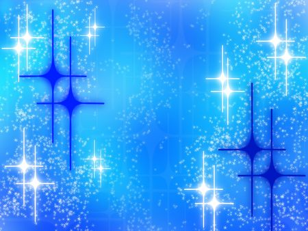 Abstract christmas design with white glowing stars on blue background