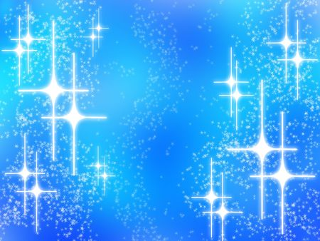 flick: Abstract christmas design with white glowing stars on blue background