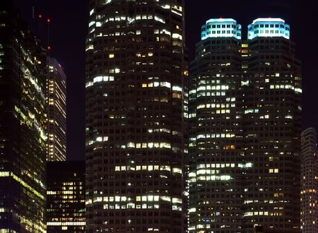 high rises: Skyscrapers - office buildings in downtown toronto at night time Stock Photo
