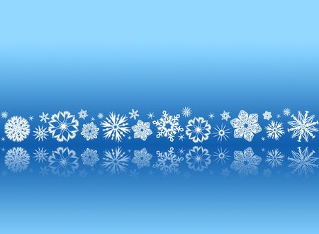 White snowflakes on blue with reflections - christmas ornament Фото со стока