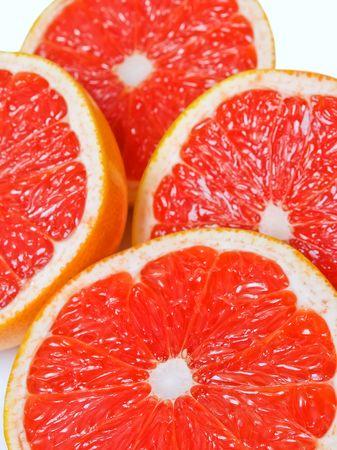 Red juicy grapefruit slices