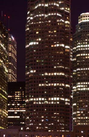 Skyscrapers - office buildings in downtown toronto at night time - urban landscape Фото со стока