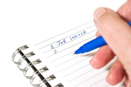 schemes: Making job search plans - hand writing in notebook Stock Photo