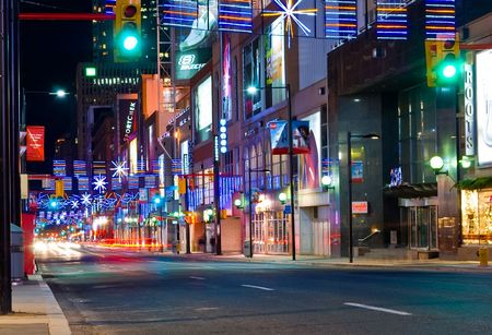 ontario: Yonge Street in Toronto, Canada at Christmas time with light decorations, December 2009