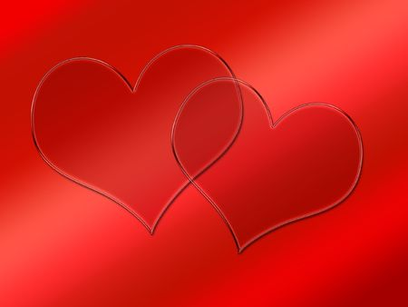 Two glass transparent hearts on red - Happy Valentines Day design