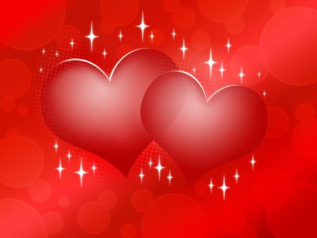 Two red hearts on red background - Happy Valentine's Day Design