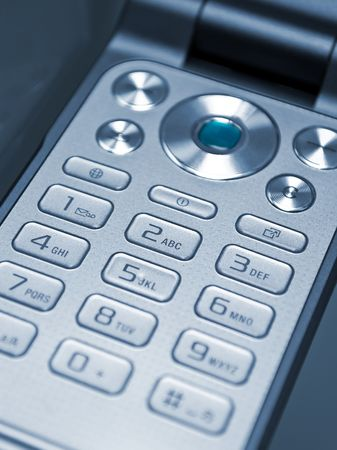 Grey keypad of a cell phone