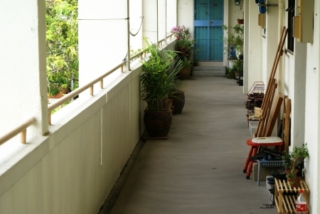 hdb: A typical HDB common area walkway