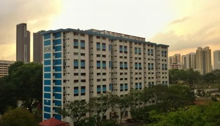 hdb: Singapore HDB block at early morning