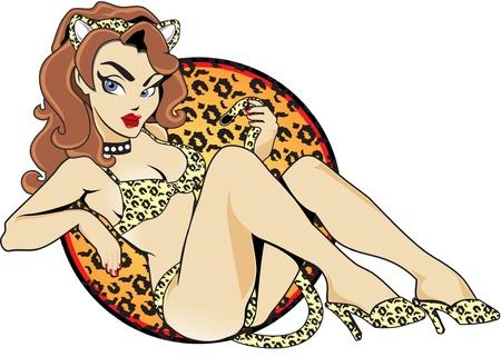 аниме: Сексуальная кошка Девушка Иллюстрация