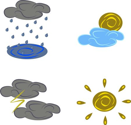 Different weather, clouds, sun, rain and thunder funny illustration