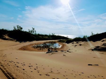 Sunbeam Over Sand Dunes Imagens