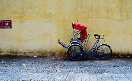 tricycle: Rickshaw In Vietnam Stock Photo