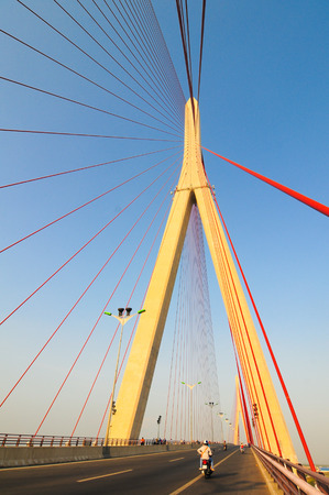 span: Can Tho, Vietnam - Jan 22, 2014. Can Tho cable-stayed bridge in Can Tho city, Southern of Vietnam, The bridge is currently the longest main span cable-stayed bridge in Southeast Asia. Stock Photo