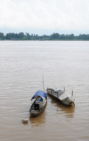 isolate boat floating on the Mekong river, Vietnam.