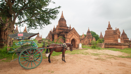 hackney carriage: The temples and the horse carriage in Bagan, Myanmar.