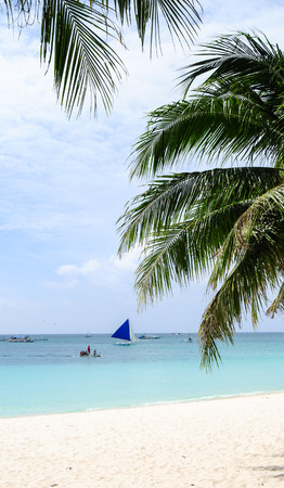boracay: Boracay, Philippines - MARCH 1, 2015. View of the lonely beach, Boracay, Philippines.