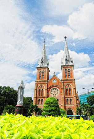 SAIGON, VIETNAM - OCT 2, 2014. Notre Dame cathedral in Saigon (Ho Chi Minh City), Vietnam. Built in French domination (1880) and designed by architecter J. Bourard.