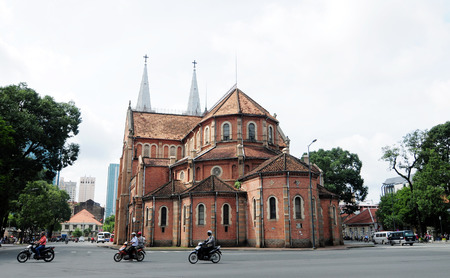 domination: SAIGON, VIETNAM - OCT 2, 2014. Notre Dame cathedral in Saigon (Ho Chi Minh City), Vietnam. Built in French domination (1880) and designed by architecter J. Bourard.