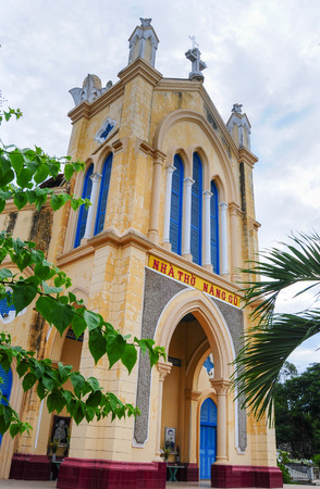 colonial church: An Giang, Vietnam - Feb 11, 2015. View of old colonial church in Mekong Delta Zone, southern Vietnam.