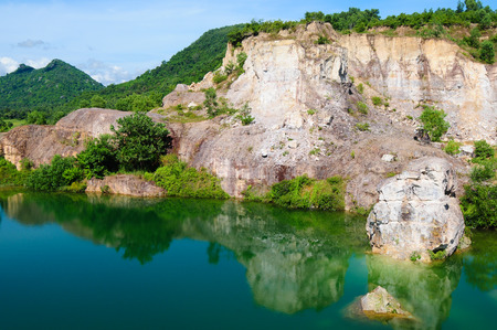 tourist spots: Mountain lake in Chau Doc town, An Giang, Vietnam. Chau doc near Cambodia is famous tourist spots of the Mekong river tours. Stock Photo