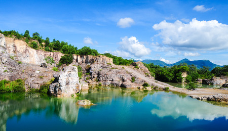 tourist spots: Mountain lake in Chau Doc town, An Giang, Vietnam. Chau doc near Cambodia is famous tourist spots of the Mekong river tours. Stock Photo