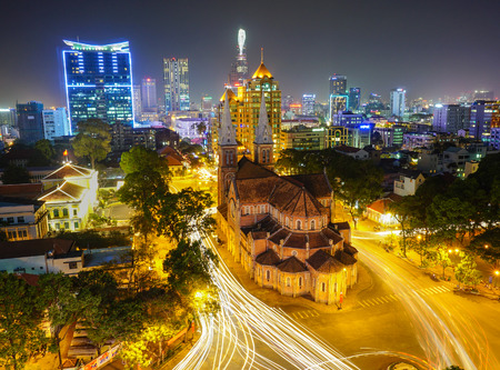 Notre Dame cathedral in Ho Chi Minh City, Vietnam night view Фото со стока