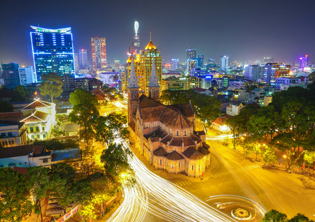 Notre Dame cathedral in Ho Chi Minh City, Vietnam night view 版權商用圖片
