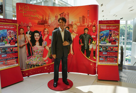 madam: BANGKOK, THAILAND - NOV 21, 2014. A waxwork of Tom Cruise on display at the newly opened Madam Tussauds. Madam Tussauds newest branch hosts waxworks of numerous stars and celebrities.