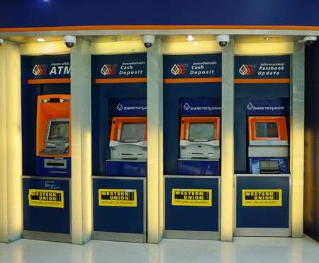 BANGKOK, THAILAND - MAY 04, 2014. Thailand commercial bank ATM booths in RAMA hospital at Rama 6 rd, Bangkok, Thailand.