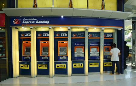 emerging economy: BANGKOK, THAILAND - MAY 04, 2014. Thailand commercial bank ATM booths in RAMA hospital at Rama 6 rd, Bangkok, Thailand. Editorial
