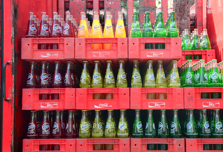 doubled: TORONTO, CANADA - DECEMBER 14, 2014. Bottled soft drinks in a supermarket in Toronto. From 1977 to 2002, Americans doubled their consumption of sweetened beverages.