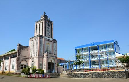 loc: BAO LOC, VIETNAM - MAR 26, 2015: Old beautiful church on summers day in Bao Loc, Vietnam. Bao Loc is city of Lam Dong highland province in Vietnam. Editorial