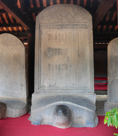 laureates: Turtle stone steles, bearing the names of Doctoral laureates of the Temple of Literature between 1142 and 1778 in Vietnam at Van Mieu - Quoc Tu Giam (Temple of Literature) in Hanoi.