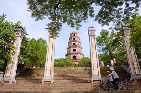 Thien 뮤 불탑, 색조, 베트남. 스톡 콘텐츠